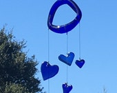 blue glass heart wind chime mobile from recycled bottles