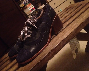 Blue Suede and Leather  60's 70's Oxfords/Mules