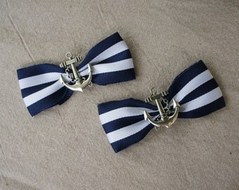 Olivia Paige -Rockabilly Navy Anchor Stripes Bows  shoe Clips   Pin up