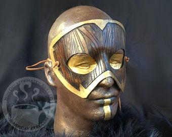 Woodgrain Armor Handmade Leather Costume Mask