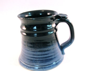 Pottery Stein - Large 24 oz. - Black and Blue Tankard - Renaissance Stein - Coffee Mug - Handmade Pottery  - Glossy Black and Black