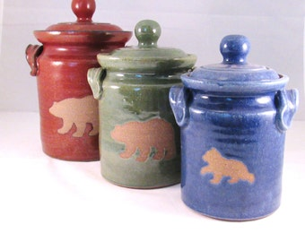 Canisters - Set of 3 - Bear Silhouettes - Stoneware Handmade Pottery - Crocks - Rust Red , Green and Blue - Kitchen Storage, Decorative