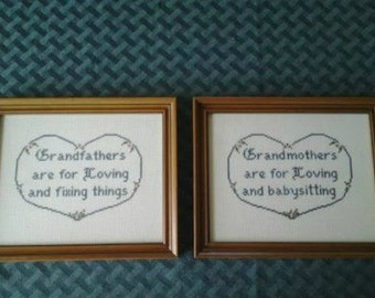 COMPLETED Two Framed Cross stitch 8x10 Pictures Grandparents Grandmother Grandfather
