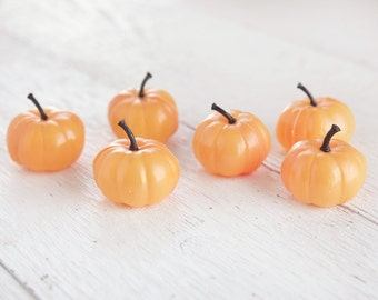 Miniature Pumpkins - 6 Cute Plastic Pumpkins for Halloween and Fall Crafts