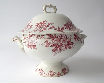 French Vintage Porcelain Soup Tureen Red/Pink Transferware