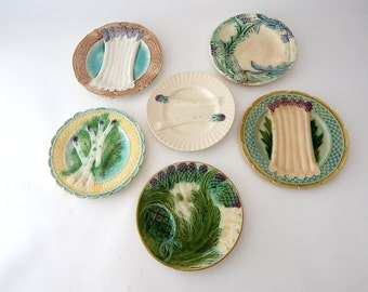 A Curated Collection 5 French Antique Asparagus and Artichoke Plates in Majolica 1900s