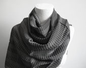 The Best Quality Willow Fibers and Silk Handwoven Scarf  - Black Gray - Shipping with FedEx