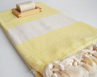 SALE 50% OFF/ Diamond Bathstyle Turkish BATH Towel Peshtemal -A- Light Yellow - Bath, Beach, Spa, Swim, Pool Towels