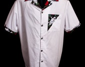 Accent Skull & Roses White limited-edition ultra-high quality button-down men's shirt