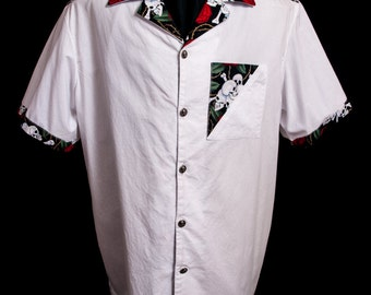 The VERY LAST Accent Skull & Roses White limited-edition ultra-high quality men's shirt