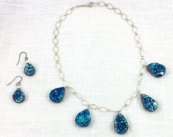 SALE: DRUZY Quartz Drops Necklace with Earrings on Sterling SILVER Chain earring Set 3 pcs Set Gift Blues was 136.00