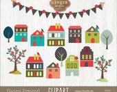 Happy Homes clip art, trees clip art, houses clip art
