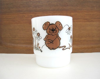 Vintage Hildi Coffee Mug Cup Brown Mouse with Daisy Flowers Daisies Milk Glass Stackable Mugs Stacking Fire King Anchor Hocking 1970s