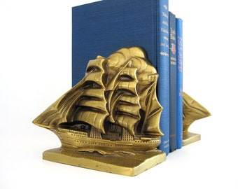 Vintage Cast Metal Bookends Brass Tone Pirate Ship Bookends, Victor Sailing Ship Clipper Book Ends, Large Galleon Nautical Beach Home Decor