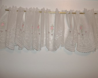 White Lace Embroidered Window Valances Roses Galore FREE Shipping