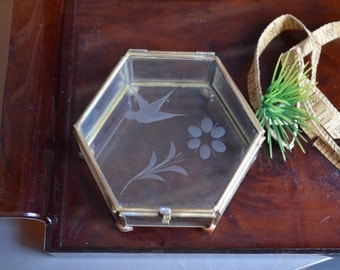 Vintage Brass and Glass Shadow Box Hinged Lid Display Ball Feet 6 Sided Tray Decor Vintage Glass Box Bird Flower Etching Table Top Display