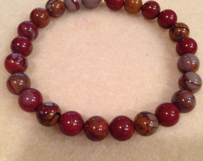 Noreena Jasper 8mm Round Stretch Bead Bracelet with Sterling Silver Accent