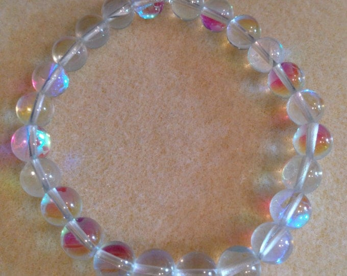 Clear Angel Aura Mystic Crystal Glass 8mm Bead Stretch Bracelet with Sterling Silver Accent - Neon Iridescent Aurora Borealis