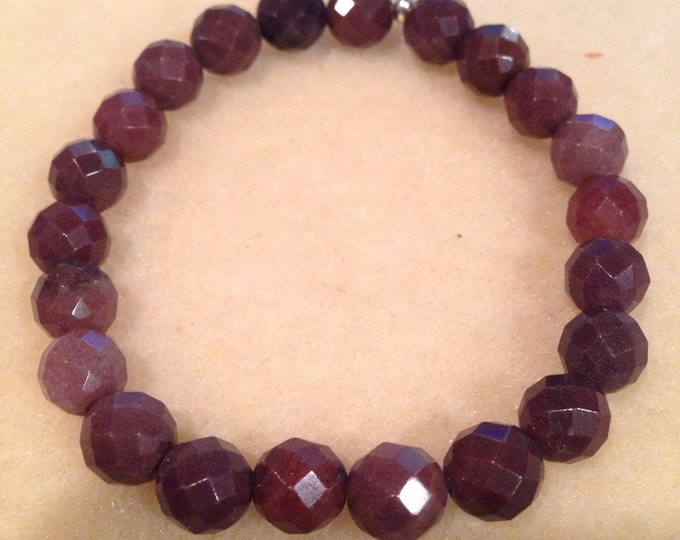 Purple Aventurine 8mm Faceted Bead Stretch Bead Bracelet with Sterling Silver Accent