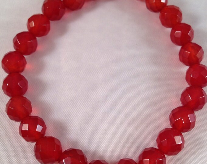 Carnelian Deep Sienna Red 8mm Faceted Round Stretch Bead Bracelet with Sterling Silver Accent
