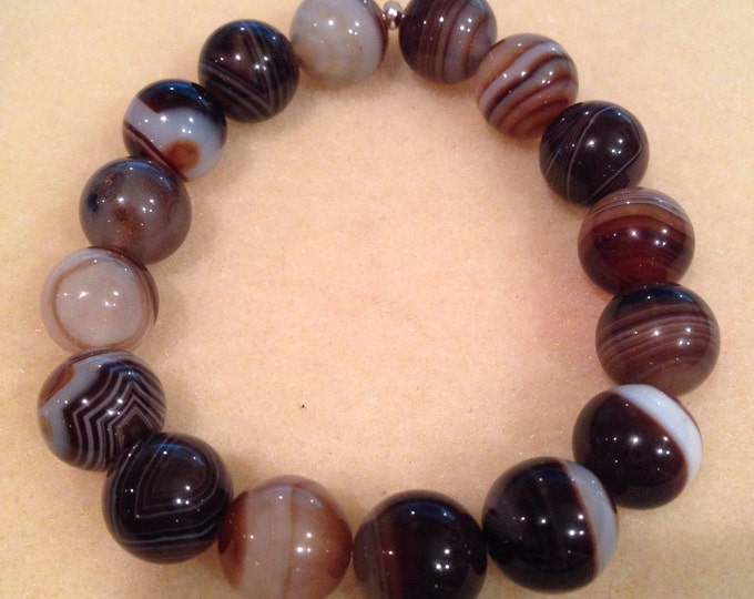 Botswana Agate 12mm Round Bead Stretch Bracelet with Sterling Silver Accent -- Lovely Coffee and White Tones