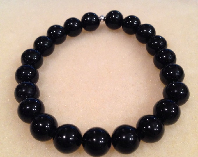 Black Obsidian 8mm Round Stretch Bead Bracelet with Sterling Silver Accent