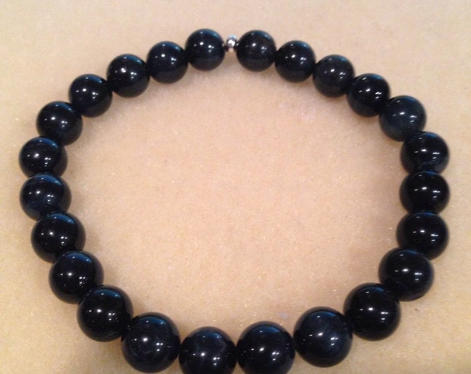 BLUE AAA Tigerseye 8mm Round Bead Stretch Bracelet with Sterling Silver Accent