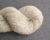 Silk Linen Cotton Blend Recycled Yarn, Fingering Weight, Ecru