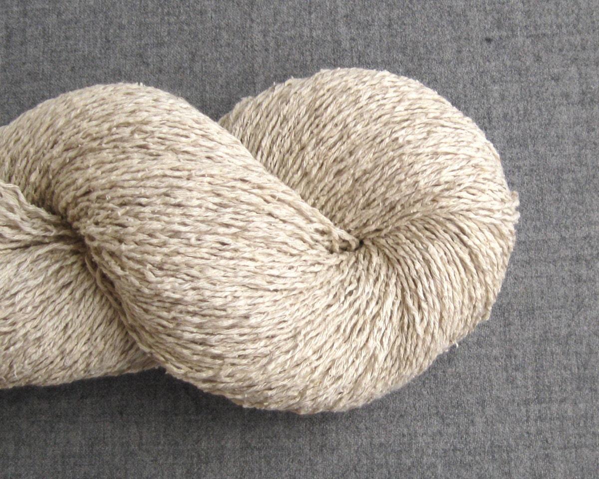 Silk Linen Cotton Blend Recycled Yarn Fingering Weight Ecru