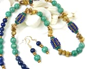 Tribal African Bead Necklace with Green Amazonite, Blue Lapis, Brown Coral, Matching Earrings, Unique Handmade Beaded Jewelry