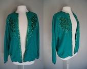 Vintage 50's Lambswool & Angora Cardigan Sweater - Emerald Green Sequin - Large - Grease - Sock Hop
