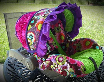Bright Floral with lime minky  3d rose panel and purple ruffle-  Custom Cover- Comes with 2 reversible strap covers