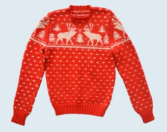Merino Handknit Moose Sweater size S/M