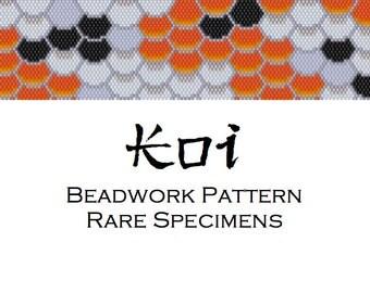 Koi Fish Scales Peyote Stitch/Brick Stitch Beadwork Pattern - Cuff Bracelet