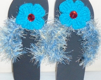Crochet Women's flip flops, black and blue, size medium 7-8, women beach shoes, summer flip flops with attached flowers, summer sandals