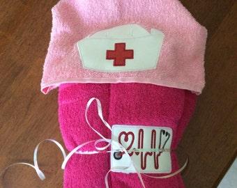 Adult nurse hooded towel