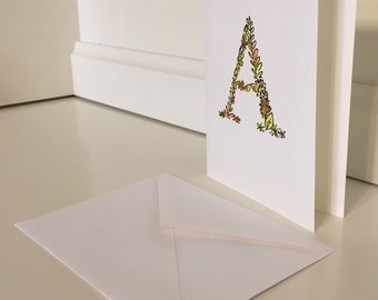 Set of Floral Letter Stationery - Watercolor with Ink - Set of 4 Folding Cards and Envelopes