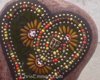 Green Heart with Orange Flowers and Brass Face,  Mosaic Garden Stone