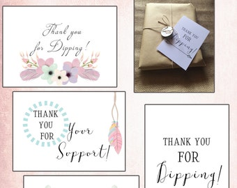 Business thank you cards, Printed pack, dipping thank you cards