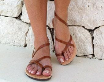 SALES women sandals, strap sandal, brown sandals, leather sandals