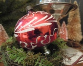 Antique Ornament / Hand Painted Silver Mercury Glass Ornament / Flower Petal Design / White and Red Christmas Ornament