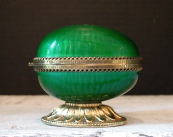 Vintage Evans Guilloche Table Top Lighter / 1950s / Vintage Green Table Lighter / Egg Shape / Mid Century