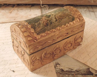 Vintage Gold Italian Florentine Box / Trunk Shaped Box / French Style Decor