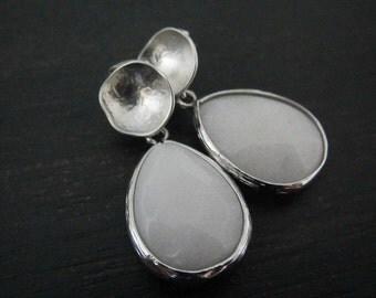 White Jade Earrings | Teardrop Earrings | Bezel Earrings | Silver Dangle Earrings | Drop Earrings | Spring Summer Jewelry | Boho Earrings