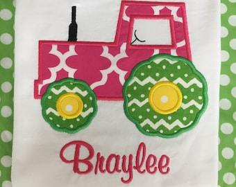 Girls Tractor applique shirt -custom - monogram - personalized with name - birthday