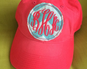 Personalized Applique Patch Monogrammed Sun Visor or hat Many Colors - Custom Monogram