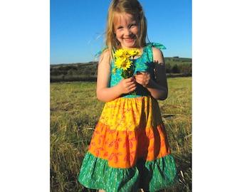 Toddler Ruffle Dress, Toddler Dress, Ruffle Peasant Dress, Citrus Batik Girls Dress, Batik Toddler Dress