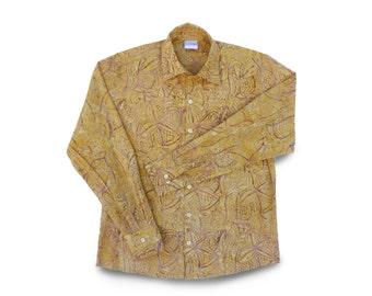 Mens Dress Shirt Cotton, Mens Gift Shirt Batik, Button Down Shirt, Dad Gift, Mens Cotton Shirt