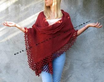 red terracotta color, bordeaux,  Women Accessories Crochet shawl with pompon details