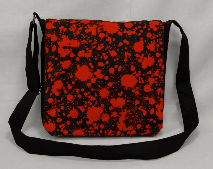 Blood Splatter Medium Size Canvas Messenger Bag, Tablet and Phone Zipper Pockets, Ready To Ship